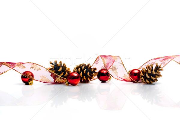 Stock fotó: Karácsony · dekoráció · szalag · piros · golyók · üveg