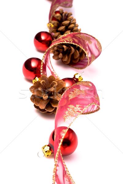 Stock fotó: Karácsony · díszek · szalag · piros · golyók · fehér