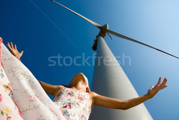 Чистая энергия будущем девушки играет ветровой турбины технологий Сток-фото © italianestro