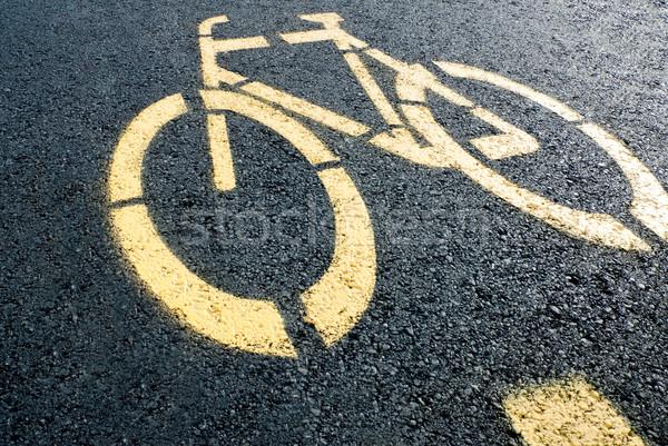 Bicikli sáv felirat út ösvény citromsárga Stock fotó © italianestro