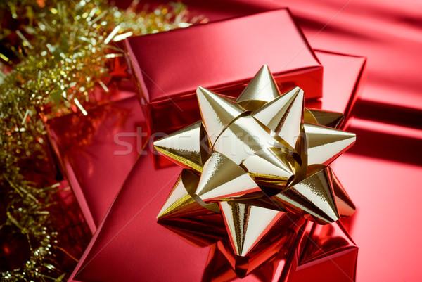 Navidad dorado cajas de regalo rojo paquete papel Foto stock © italianestro
