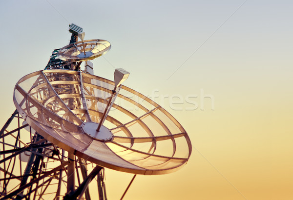 Stock photo: telecommunications tower at the sunset