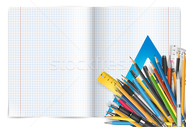 Bloco de notas canetas vetor de volta à escola matemática Foto stock © iunewind