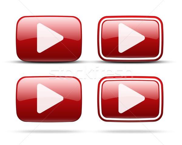 Jogar ícones vermelho vetor botões conjunto Foto stock © iunewind