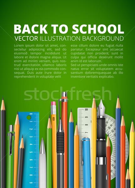 Massa lápis canetas espaço papel lápis Foto stock © iunewind