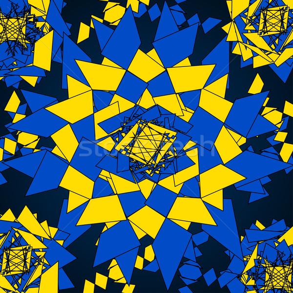 抽象的な 万華鏡 青 黄色 ベクトル 背景 ストックフォト © iunewind