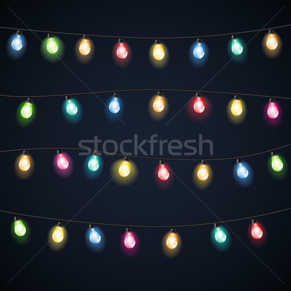 セット 花輪 クリスマス ライト ベクトル 実例 ストックフォト © iunewind