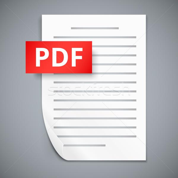 Pdf бумаги лист иконки дизайна Сток-фото © iunewind