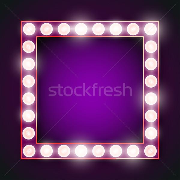 フレーム ランプ ベクトル バイオレット ネオン ライト ストックフォト © iunewind