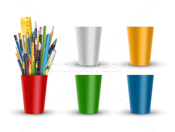 Caneta lápis vidro vetor canetas vermelho Foto stock © iunewind