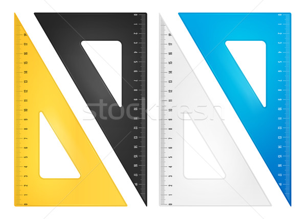 Triángulo gobernante establecer herramienta escala plástico Foto stock © iunewind