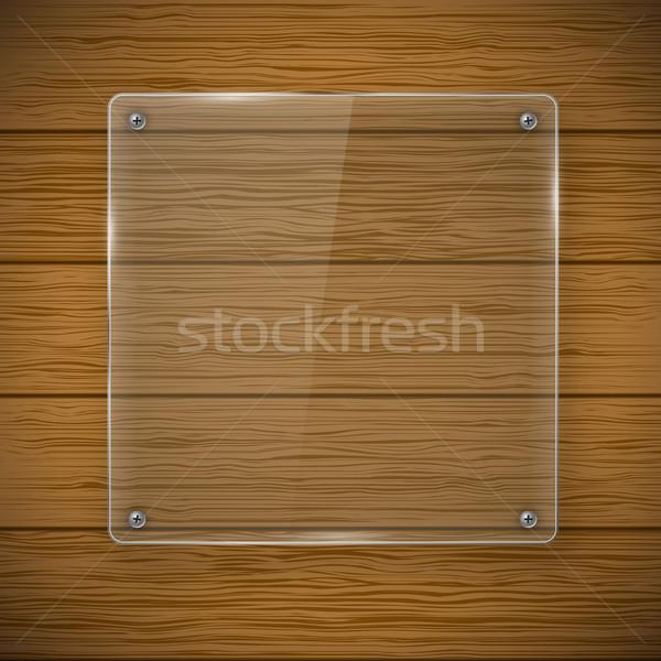 Glass framework and wood texture Stock photo © iunewind