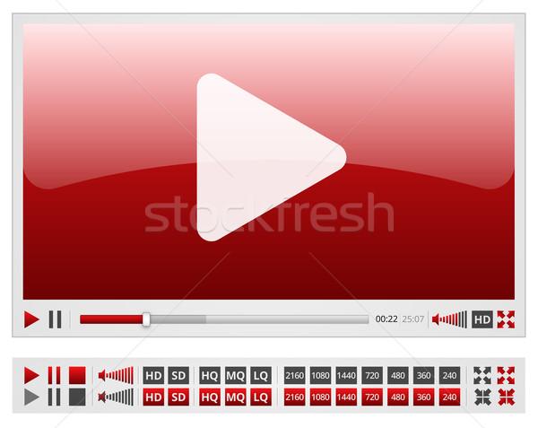 Vermelho vídeo jogador modelo de design elementos Foto stock © iunewind