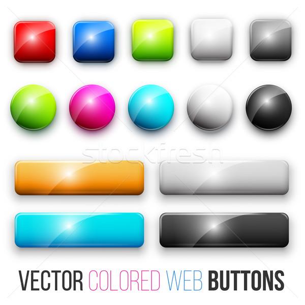 Foto d'archivio: Web · pulsanti · set · colorato · lucido · abstract