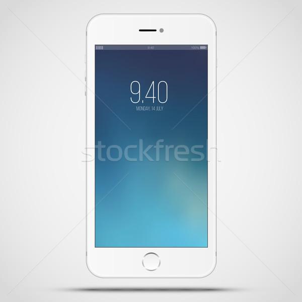 Okos fehér okostelefon hasonló illusztráció izolált Stock fotó © iunewind