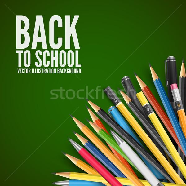 Kitle kalemler okula geri kalemler uzay kâğıt Stok fotoğraf © iunewind