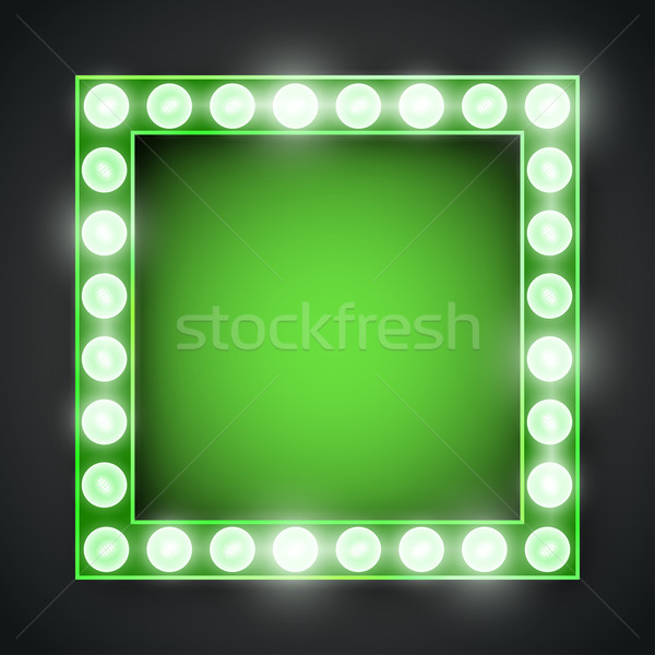 Quadro lâmpada vetor verde néon luzes Foto stock © iunewind