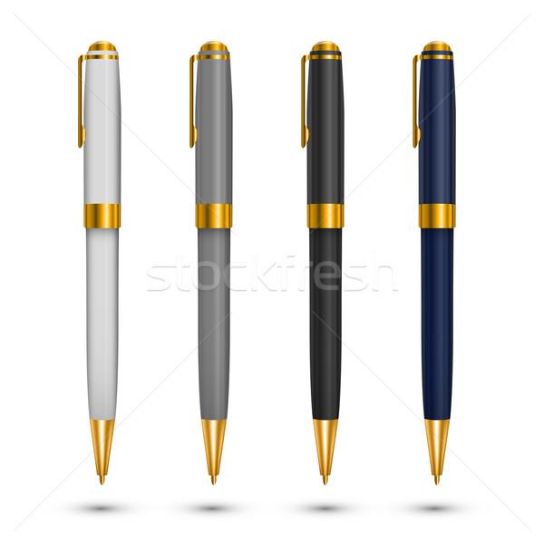 Ouro caneta canetas vetor conjunto Foto stock © iunewind
