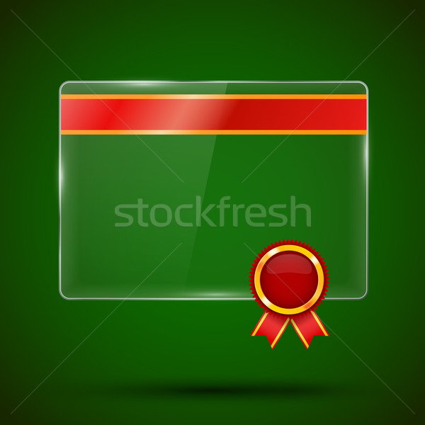 Vidro painel bandeira vermelho prêmio etiqueta Foto stock © iunewind