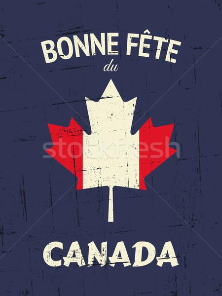 Vintage Канада день плакат французский счастливым Сток-фото © ivaleksa