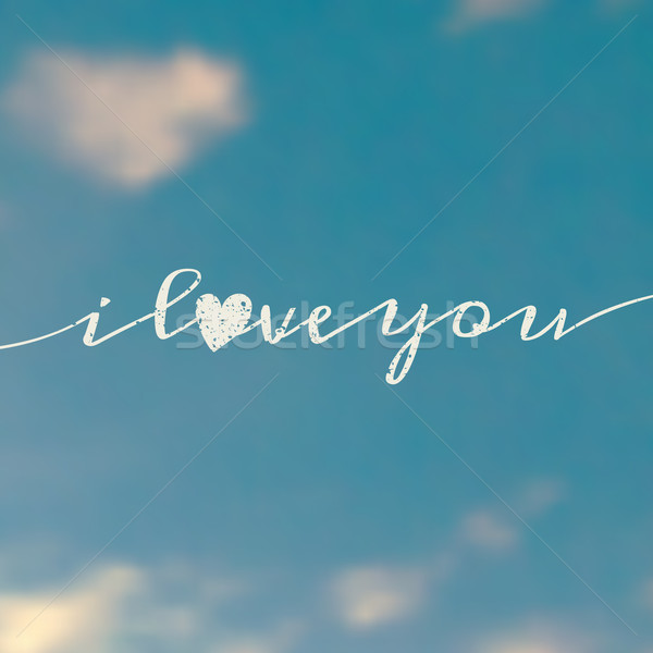 Ciel amour un message typographique design floue Photo stock © ivaleksa