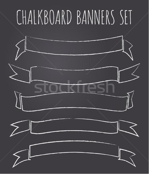 Kara tahta afişler toplama ayarlamak beş bağbozumu Stok fotoğraf © ivaleksa