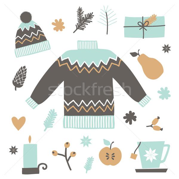 Noël design ensemble brun Photo stock © ivaleksa
