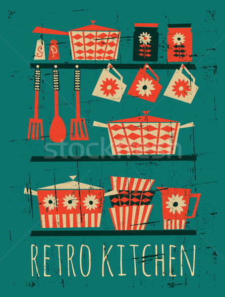 Retro Kitchen Poster Stock photo © ivaleksa