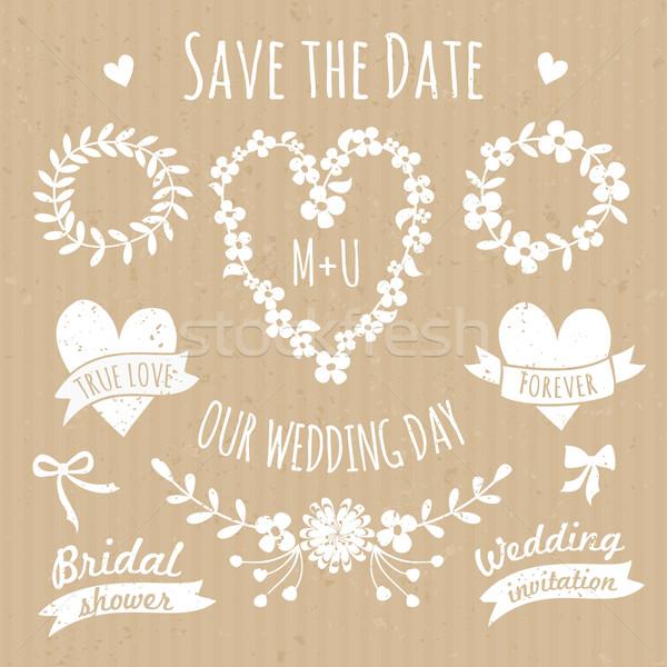 ストックフォト: 結婚式 · デザイン · 要素 · コレクション · セット · フローラル