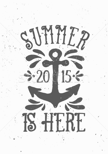 Verão aqui cartaz projeto vintage estilo Foto stock © ivaleksa