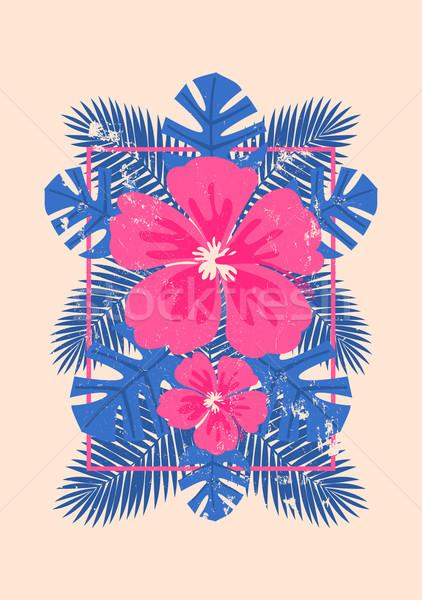 Hibiszkusz virágok pálmalevelek terv rózsaszín kék Stock fotó © ivaleksa