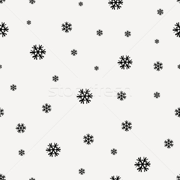 Sneeuwvlokken naadloos herhalen patroon zwarte Stockfoto © ivaleksa