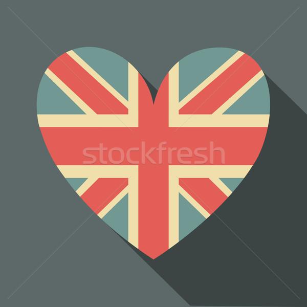 Union jack vlag icon ontwerp lang schaduw Stockfoto © ivaleksa