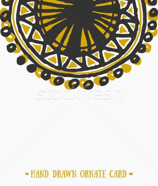 Absztrakt díszes üdvözlőlap sablon kézzel rajzolt terv Stock fotó © ivaleksa