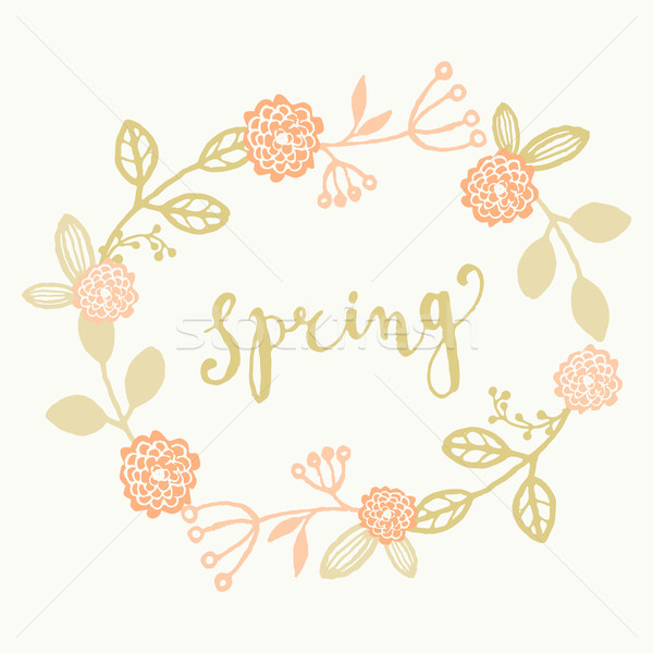 Hand Drawn Spring Greeting Card Template Stock photo © ivaleksa