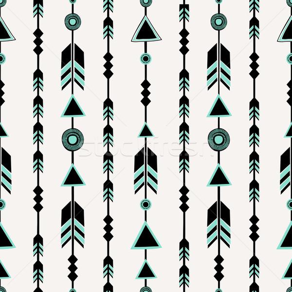 Tribali stile frecce nero blu Foto d'archivio © ivaleksa