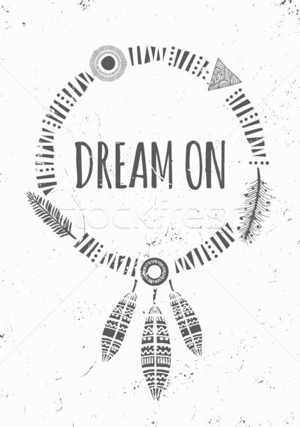 Indian rêve affiche design blanc noir inspiré Photo stock © ivaleksa