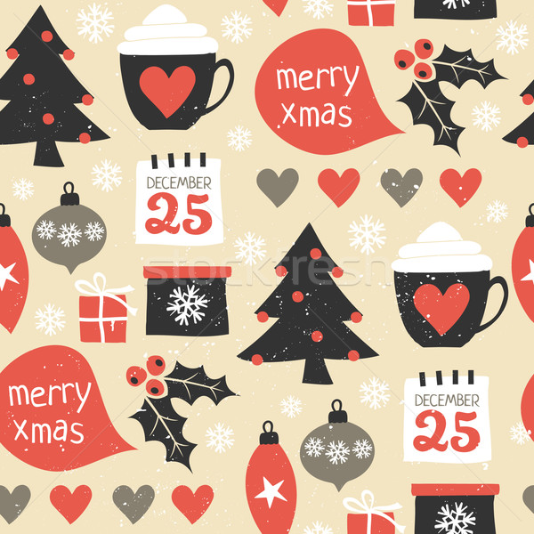 Foto stock: Natal · sem · costura · repetir · padrão · tradicional