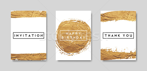 Gold Foil Brush Strokes Card Collection Stock photo © ivaleksa