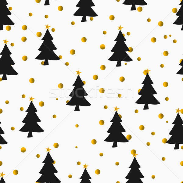Christmas Tree Pattern.Gold Confetti And Christmas Trees Seamless Pattern Vector