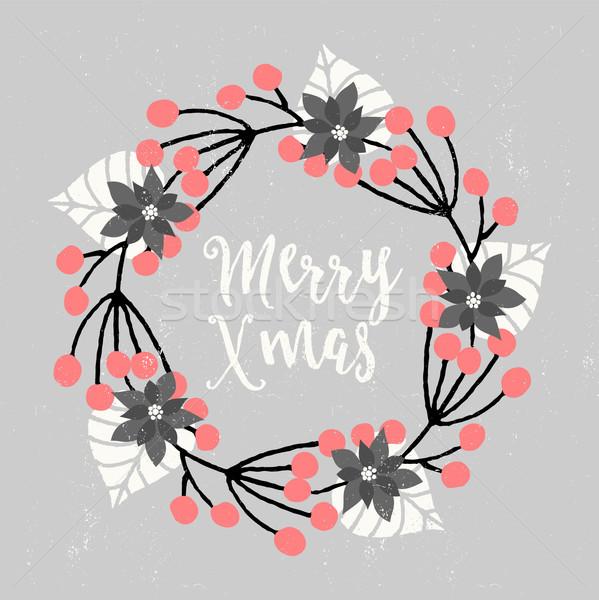 Сток-фото: Рождества · дизайна · цветочный · венок · украшение