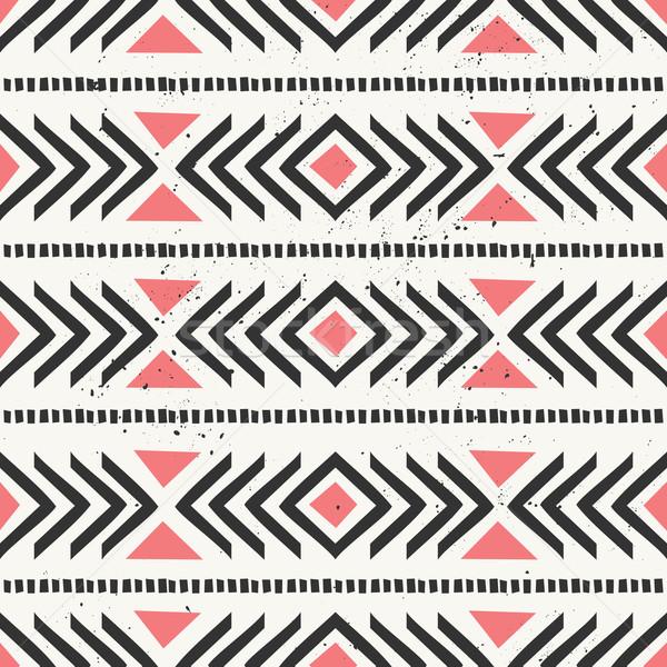 ストックフォト: 手描き · 抽象的な · スタイル · 民族 · 幾何学的な