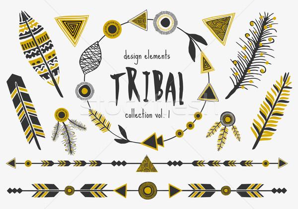 Törzsi terv elemek gyűjtemény szett fekete Stock fotó © ivaleksa