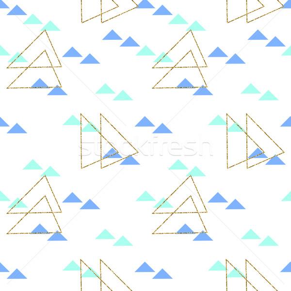Сток-фото: бесшовный · геометрическим · рисунком · шаблон · синий · зеленый