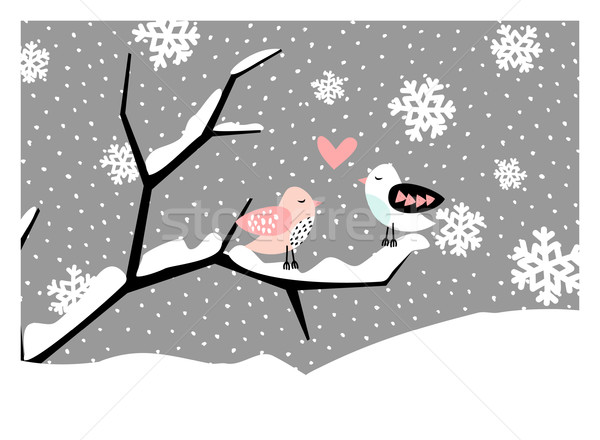 Noël carte de vœux design deux cute oiseaux Photo stock © ivaleksa