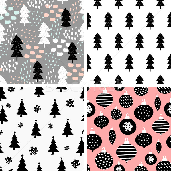 Photo stock: Noël · modèles · ensemble · quatre · hiver