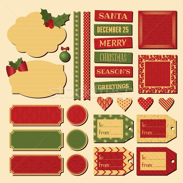 Foto stock: Natal · projeto · elementos · conjunto · vintage · tradicional