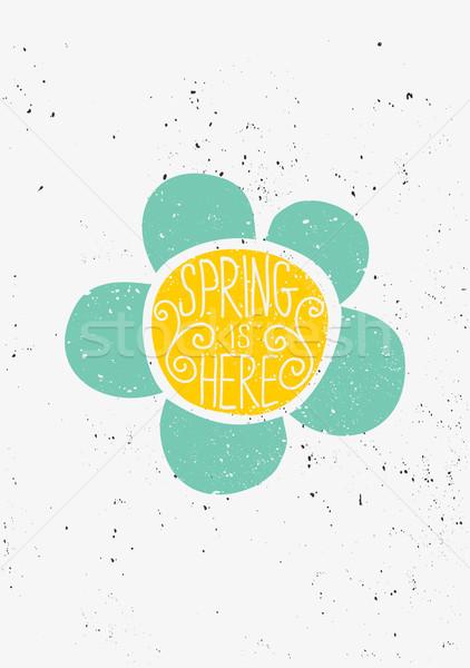 Hand Drawn Spring Flower Typographic Design Stock photo © ivaleksa