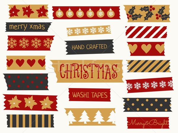 クリスマス テープ コレクション セット ストリップ 赤 ストックフォト © ivaleksa