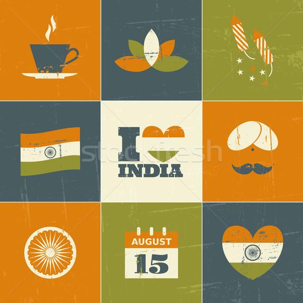 Stock fotó: India · nap · gyűjtemény · szett · szimbólumok · ikonok